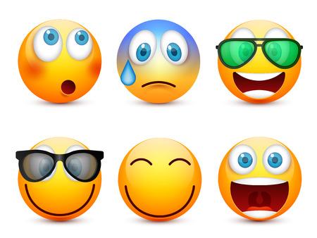 Smiley con ojos azules, conjunto de emoticonos. Cara amarilla con emociones. Expresión facial. 3d emoji realista. Caras tristes, felices, enojados. Personaje de dibujos animados gracioso.Mod.Vector ilustración. Foto de archivo - 83682469