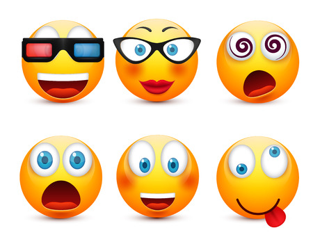 Smiley with blue eyes,emoticon set. Yellow face with emotions. Facial expression. 3d realistic emoji. Sad,happy,angry faces.Funny cartoon character.Mood.Vector illustration. Zdjęcie Seryjne - 83781470