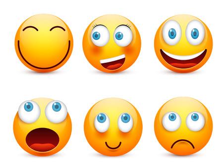 Blauwe ogen emoticon set illustratie. Stock Illustratie