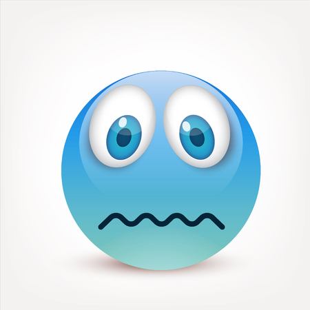 Smiley with blue eyes,emoticon. Blue face with emotions. Facial expression. 3d realistic emoji. Sad,happy,angry faces.Funny cartoon character.Mood.Vector illustration. Zdjęcie Seryjne - 83824793