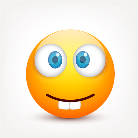 Smiley with blue eyes,emoticon. Yellow face with emotions. Facial expression. 3d realistic emoji. Sad,happy,angry faces.Funny cartoon character.Mood.Vector illustration. Ilustração