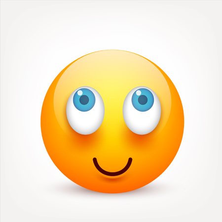 Smiley with blue eyes,emoticon. Yellow face with emotions. Facial expression. 3d realistic emoji. Sad,happy,angry faces.Funny cartoon character.Mood.Vector illustration. Ilustracja