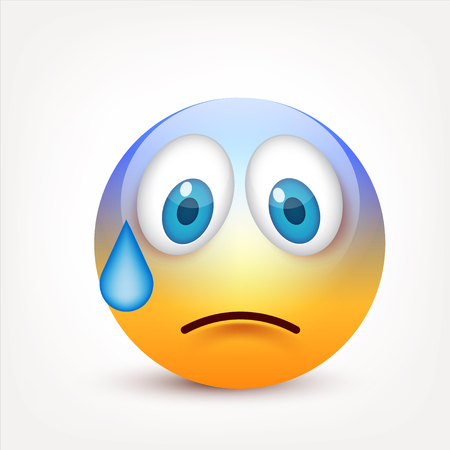 Smiley with blue eyes,emoticon. Yellow face with emotions. Facial expression. 3d realistic emoji. Sad,happy,angry faces.Funny cartoon character.Mood.Vector illustration.  イラスト・ベクター素材