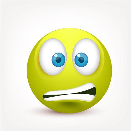 파란 눈, 이모티콘 스마일입니다. 감정이있는 Greenface. 표정. 3d 현실적인 그림이입니다. 슬픈, 행복, 화가 faces.Funny 만화 캐릭터입니다 .Mood.Vector 그림입