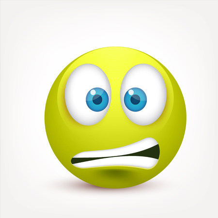 Smiley with blue eyes,emoticon. Greenface with emotions. Facial expression. 3d realistic emoji. Sad,happy,angry faces.Funny cartoon character.Mood.Vector illustration. Ilustracja