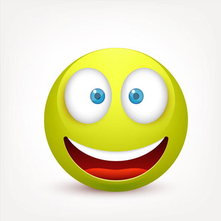 Smiley with blue eyes,emoticon. Greenface with emotions. Facial expression. 3d realistic emoji. Sad,happy,angry faces.Funny cartoon character.Mood.Vector illustration. Zdjęcie Seryjne - 83826320