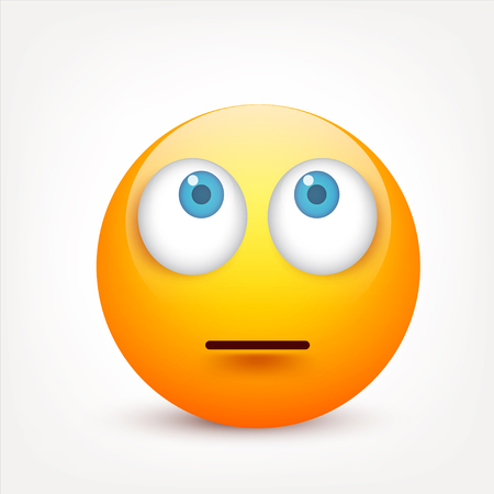 Smiley with blue eyes,emoticon. Yellow face with emotions. Facial expression. 3d realistic emoji. Sad,happy,angry faces.Funny cartoon character.Mood.Vector illustration. Zdjęcie Seryjne - 83828463