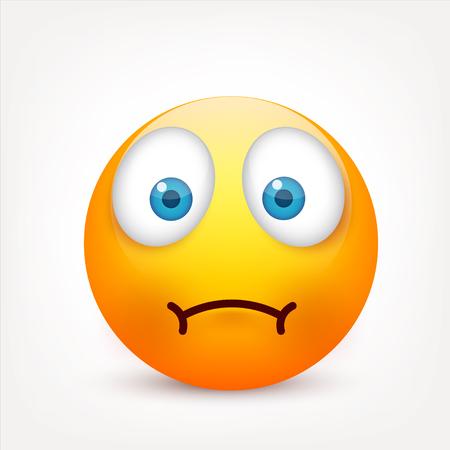 Smiley z niebieskimi oczami, emotikon. Żółta twarz z emocjami. Wyraz twarzy. 3d emoji realistyczne. Smutny, szczęśliwy, zły twarzy faces.Funny character.Mood.Vector cartoon ilustracji.