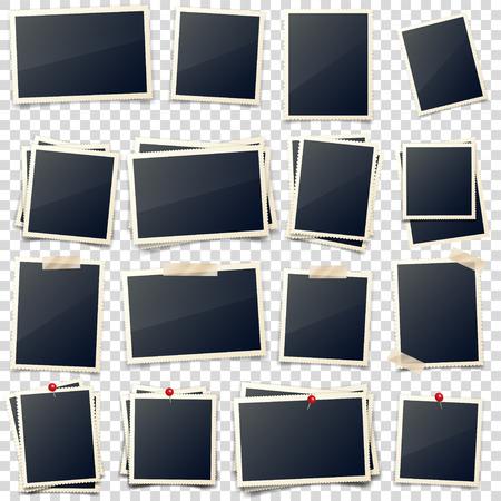 Tarjeta de foto antigua, lados tallados, marco, película. Retro, fotografía de época con sombra. Instantánea digital, imagen. Arte de fotografía. Plantilla o maqueta para el diseño. Ilustración de vector sobre fondo transparente. Ilustración de vector