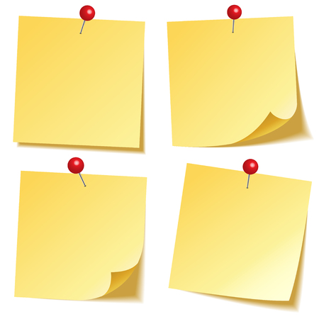 Sticky note with shadow isolated on transparent background. Yellow paper. Message on notepaper. Reminder. Vector illustration. Illustration