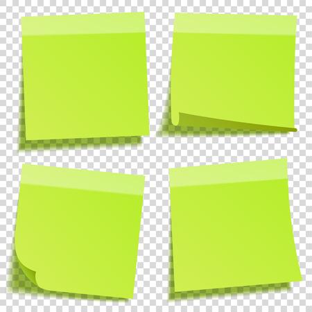 Kleverige notitie met schaduw geïsoleerd op transparante achtergrond. Groen papier. Bericht op notepaper.Reminder. Vector illustratie.