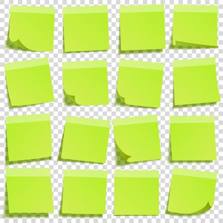 透明な背景に分離した影の付箋。緑の紙。便箋にメッセージ。思い出させる。ベクトルの図。