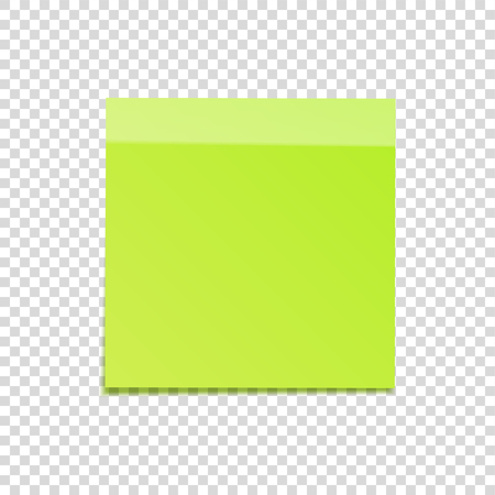 Kleverige die nota met schaduw op transparante achtergrond wordt geïsoleerd. Groen papier. Bericht op briefpapier.Reminder. Vector illustratie.