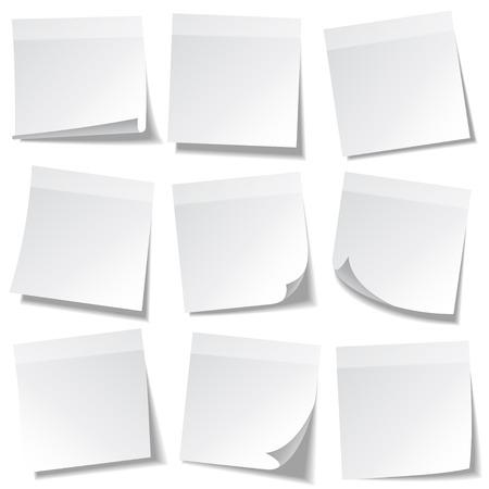 透明な背景に分離した影の付箋。ホワイト ペーパー。便箋にメッセージ。思い出させる。ベクトルの図。
