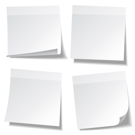 Sticky note with shadow isolated on transparent background. White paper. Message on notepaper. Reminder. Vector illustration.