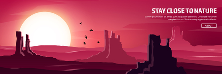 Desert trip header. Extreme tourism and travelling. Back to nature. Sands.Exploring Africa. Horizont line with sky,stars. Mountaines, flying birds. Illustration