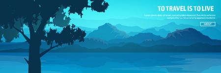 Bergen en boskop. Wild natuurlandschap. Reizen en avontuur.Panorama. In het bos. Horizonlijn. Bomen, mistmos. Stock Illustratie