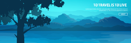 Mountains and forest header. Wild nature landscape. Travel and adventure.Panorama. Into the woods. Horizon line.Trees,fogfog. Иллюстрация