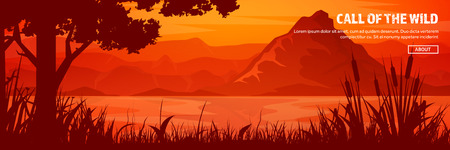 Mountains and forest header. Wild nature landscape. Travel and adventure.Panorama. Into the woods. Horizon line.Trees,fogfog. Ilustração