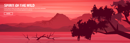 Mountains and forest header. Wild nature landscape. Travel and adventure.Panorama. Into the woods. Horizon line.Trees,fogfog. Illustration