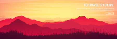 Mountains and forest header. Wild nature landscape. Travel and adventure.Panorama. Into the woods. Horizon line.Trees,fogfog. 向量圖像