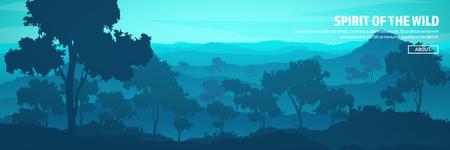 Montagne e intestazione forestale. Paesaggio di natura selvaggia. Viaggi e avventura.Panorama. Nel bosco. Linea orizzontale. Archivio Fotografico - 84674905