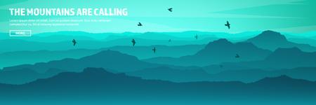Montagne e intestazione forestale. Paesaggio di natura selvaggia. Viaggi e avventura.Panorama. Nel bosco. Linea orizzontale. Archivio Fotografico - 84674908
