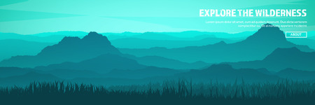 Mountains and forest header. Wild nature landscape. Travel and adventure.Panorama. Into the woods. Horizon line.Trees,fogfog. Stock Illustratie