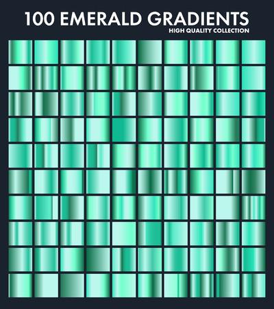 Grren esmeralda cromado degradado conjunto, patrón, plantilla. Naturaleza, colores de hierba para el diseño, colección de degradados de alta calidad. Textura metálica, fondo de metal brillante. Adecuado para texto, maqueta, banner, cinta Foto de archivo - 85256083