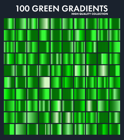 Grren cromo degradado conjunto, patrón, plantilla. Naturaleza, colores de hierba para el diseño, colección de degradados de alta calidad. Textura metálica, fondo de metal brillante. Apto para texto, maqueta, banner, cinta Foto de archivo - 85256076