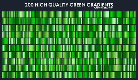 Grren クロム グラデーション、パターン、テンプレートを設定します。自然、デザイン、高品質の勾配のコレクションの草の色。金属的な質感、光沢