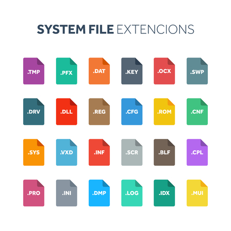 Flat style icon set. System file type, extencion. Document format. Pictogram. Web and multimedia. Computer technology.