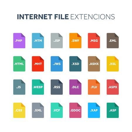 Flat style icon set. Internet, web file type, extencion. Document format. Pictogram. Web and multimedia. Computer technology. Çizim