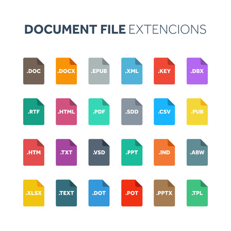 Flat style icon set. Document, text file type, extension. Document format. Pictogram. Web and multimedia. Computer technology.