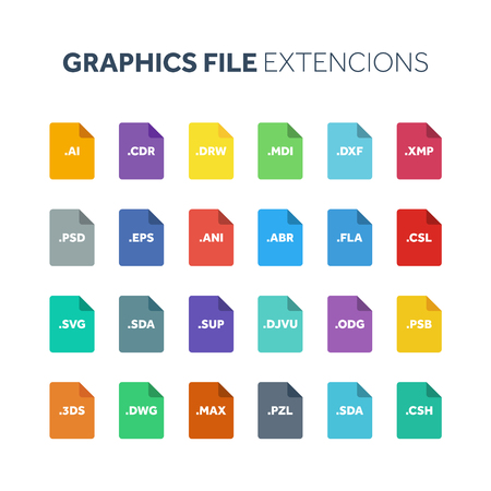 Flat style icon set. Graphic design vector file type extension or document format. Иллюстрация