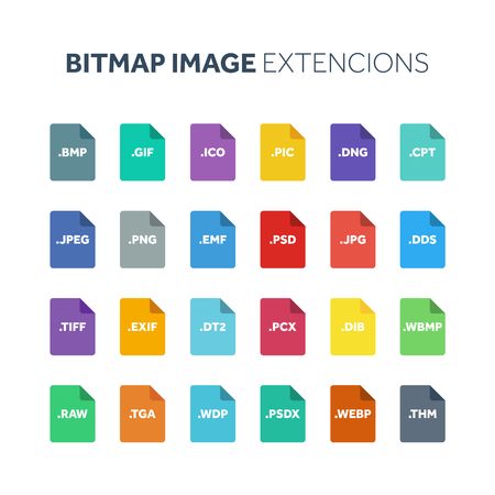 Flat style icon set. Bitmap image file type, extencion. Document format. Pictogram. Web and multimedia. Computer technology.