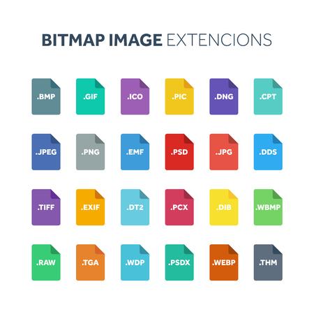 Set di icone di stile piatto. Tipo di file immagine bitmap, estensione. Formato del documento Pittogramma. Web e multimedia. Informatica. Archivio Fotografico - 85184194