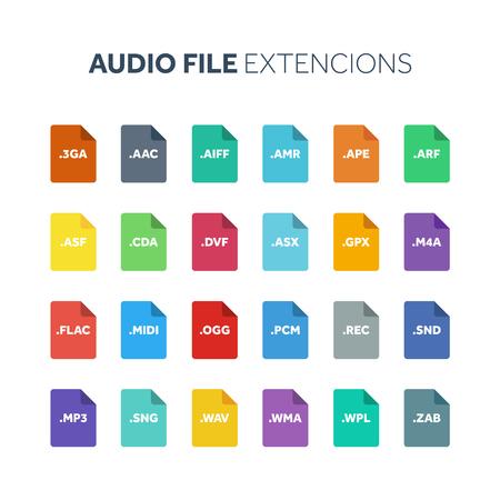 フラットスタイルのアイコンセット。オーディオ、曲、音声録音ファイルの種類、extencion。ドキュメント形式です。ピクトグラム。ウェブとマルチ  イラスト・ベクター素材