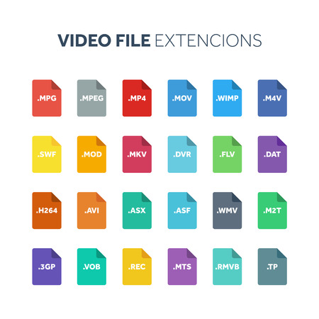 Flat style icon set. Video, movie, film file type, extension. Document format. Pictogram. Web and multimedia. Computer technology.