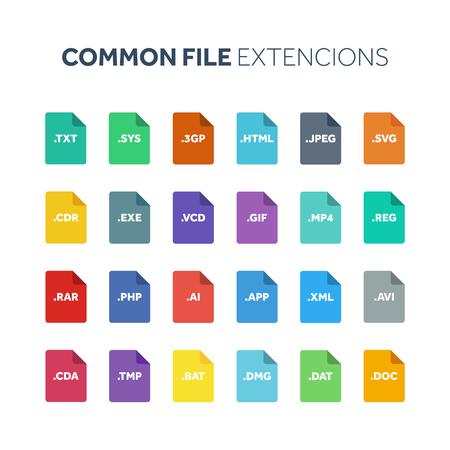 플랫 스타일 아이콘 집합입니다. 시스템 공통 파일 유형 확장 또는 문서 형식.