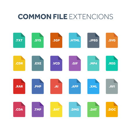 Flat style icon set. System common file type extension or document format. Иллюстрация