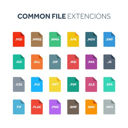 플랫 스타일 아이콘 집합입니다. 시스템, 공통 파일 유형, 확장. 문서 형식. 그림. 웹 및 멀티미디어. 컴퓨터 기술. 일러스트
