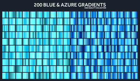Blue, azure chrome gradient set,pattern,template.Water,sky colors for design,collection of high quality gradients.Metallic texture,shiny metal background.Suitable for text ,mockup,banner, ribbon