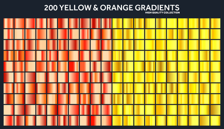 Yellow, orange chrome gradient set,pattern,template.Sun,fruits colors for design,collection of high quality gradients.Metallic texture,shiny metal background.Suitable for text ,mockup,banner, ribbon Illustration