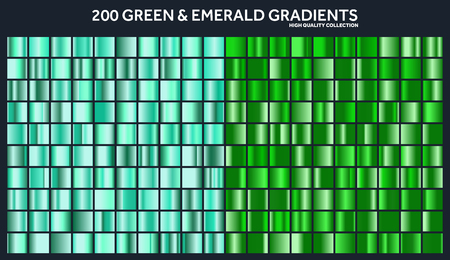 Grren, emerald chrome gradient set,pattern,template.Nature,grass colors for design,collection of high quality gradients.Metallic texture,shiny metal background.Suitable for text ,mockup,banner, ribbon Ilustração