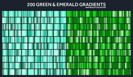 Grren, gradiente de esmeralda cromo conjunto, patrón, plantilla. Naturaleza, colores de hierba para el diseño, colección de degradados de alta calidad. Textura metálica, fondo de metal brillante. Conveniente para texto, maqueta, bandera, cinta Foto de archivo - 85256100