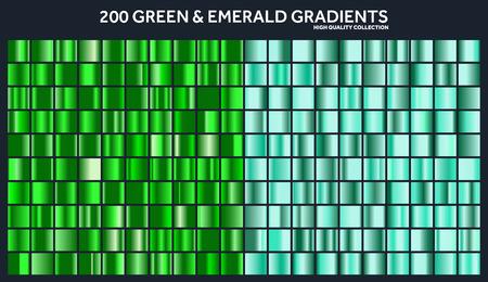 Grren, gradiente de esmeralda cromo conjunto, patrón, plantilla. Naturaleza, colores de hierba para el diseño, colección de degradados de alta calidad. Textura metálica, fondo de metal brillante. Conveniente para texto, maqueta, bandera, cinta Foto de archivo - 85256099