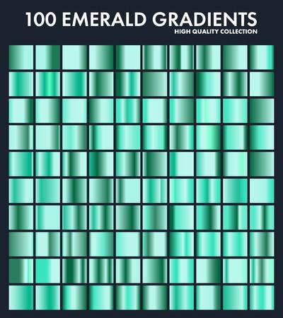 Grren esmeralda cromado degradado conjunto, patrón, plantilla. Naturaleza, colores de hierba para el diseño, colección de degradados de alta calidad. Textura metálica, fondo de metal brillante. Adecuado para texto, maqueta, banner, cinta Foto de archivo - 85256102