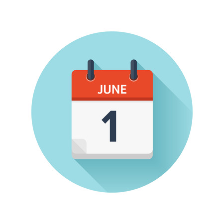 June 1. Vector flat daily calendar icon. Date and time, day, month 2018. Holiday. Season. 일러스트