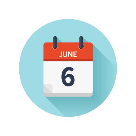 6 月 6 日。カレンダーのアイコンをベクトル フラット毎日。日付と時刻、日、月 2018。休日。シーズン。  イラスト・ベクター素材